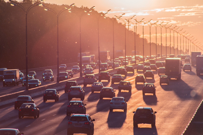 Drukke snelweg